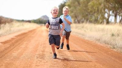 Children playing on farm